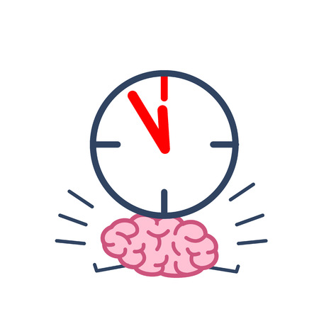 Brain in time pressure. Vector concept illustration of brain burdened with clocks | flat design linear infographic icon colorful on white background Illustration