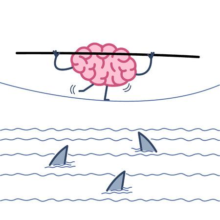 도전과 용기 - 뇌의 상어와 물 위에 로프에서 균형의 개념적 벡터 일러스트 레이션   평면 디자인 선형 infographic 아이콘 흰색 배경에 화려한 일러스트