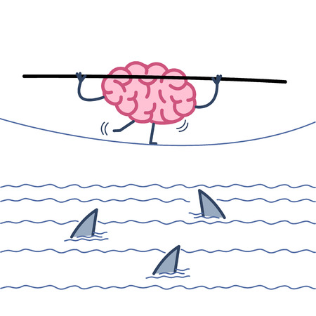 challenge and courage - conceptual vector illustration of brain balancing on rope over the water with sharks | flat design linear infographic icon colorful on white background Illustration