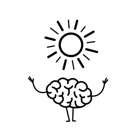 긍정적 인 생각. 태양의 상징으로 행복한 두뇌의 벡터 개념 일러스트 레이션   플랫 디자인 흰색 배경에 선형 infographic 아이콘 검정