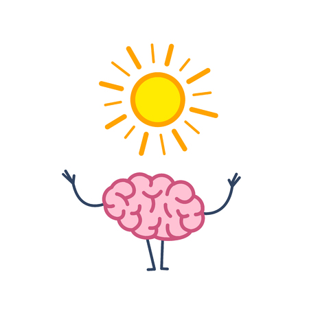 Positive mind. Vector concept illustration of happy brain with symbol of sun | flat design linear infographic icon colorful on white background