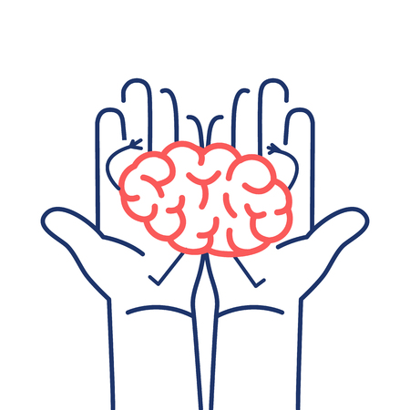 Carefully holding brain in two hands. Vector concept illustration of taking care about brain | flat design linear infographic icon red and blue on white background
