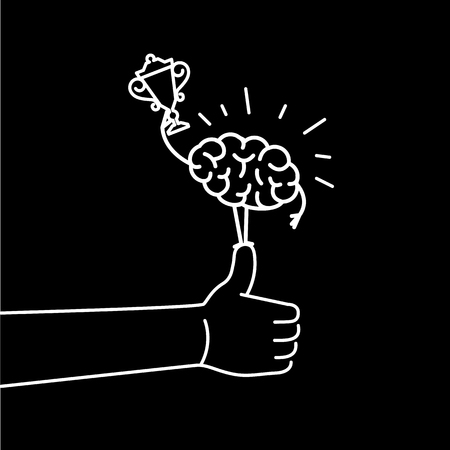 Brain champion. Vector concept illustration of best brain with golden goblet standing on thumb up | flat design linear infographic icon white on black background