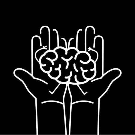Carefully holding brain in two hands. Vector concept illustration of taking care about brain | flat design linear infographic icon white on black background
