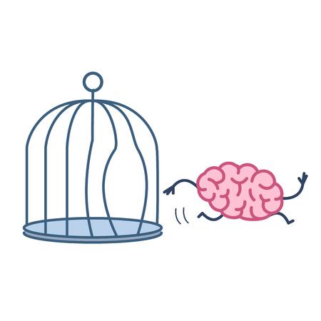 Gehirn entkommen aus dem Vogelkäfig. Vector Konzept Illustration der Erleuchtung Geist läuft aus dem Gefängnis | flaches Design lineare Infografik Symbol bunt auf weißem Hintergrund Illustration