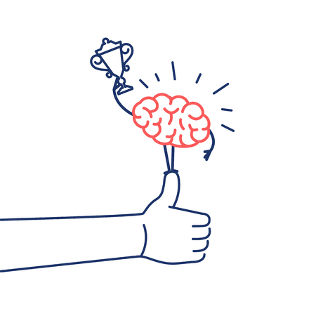 personality: Brain champion. Vector concept illustration of best brain with golden goblet standing on thumb up | flat design linear infographic icon red and blue on white background Illustration