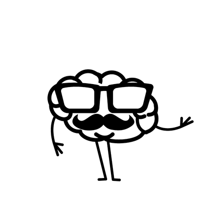 Hipster brain. Vector concept illustration of brain with sunglasses and moustache   flat design linear infographic icon black on white background