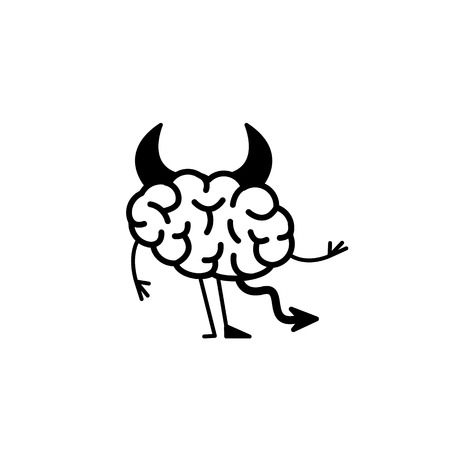 Insidious brain. Vector concept illustration of hells devil brain with corners, tail and hoof | flat design linear infographic icon black on white background