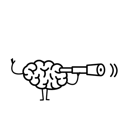 Brain with telescope. Vector concept illustration searching brain | flat design linear infographic icon black on white background