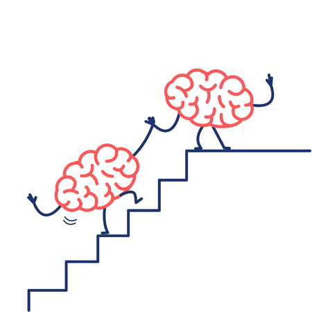 Brain helping hand to success. Vector concept illustration of two brains cooperation on stairs to goal | flat design linear infographic icon red and blue on white background