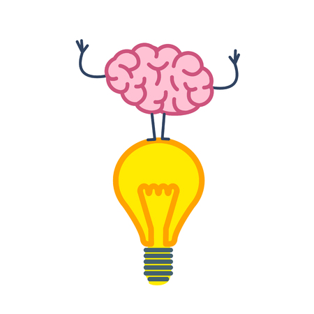 Brain on idea. Vector concept illustration of brain standing on lighting bulb | flat design linear infographic icon colorful on white background
