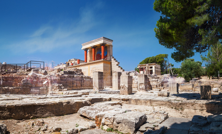 Knossos palace of the minoan civilization and culture at heraklion panoramic view on ruins of ancient knossos palace of the minoan civilization and culture at heraklion sciox Images