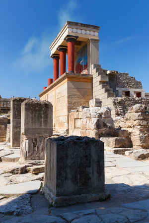 Knossos palace of the Minoan civilization and culture at Heraklion vertical photo, Crete, Greece