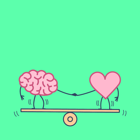 Brain and heart balancing. Vector concept illustration of balance between mind and feelings| flat design linear infographic icon on green background Çizim