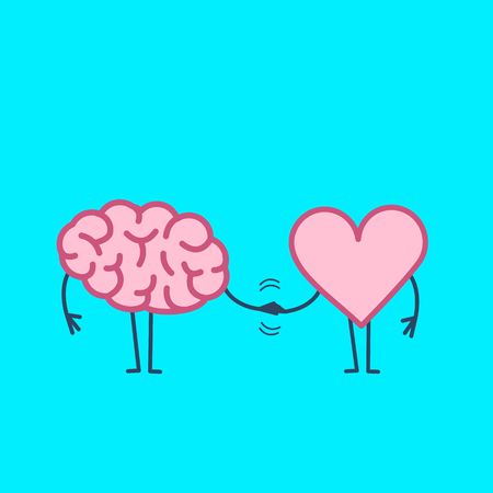 Brain and heart handshake. Vector concept illustration of teamwork between mind and feelings | flat design linear infographic icon on blue background