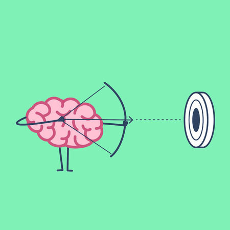 Brain archer aiming target. Vector concept illustration of mind focusing on goal | flat design linear infographic icon on green background