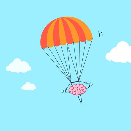 Cérebro voando no pára-quedas. Ilustração do conceito do vetor da mente inventiva e criativa | ícone de infográfico linear design plano em fundo azul