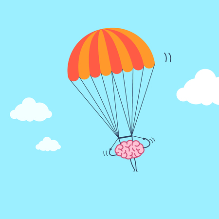 Brain flying on parachute. Vector concept illustration of inventive and creative mind | flat design linear infographic icon on blue background