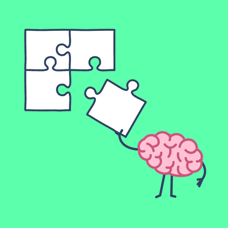 Brain making puzzle. Vector concept illustration of creative mind finding solution | flat design linear infographic icon on green background Illustration