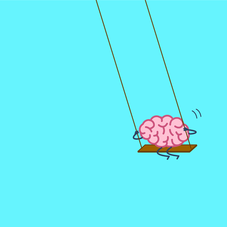 Brain swings on swing. Vector concept illustration of happy relaxed creative mind | flat design linear infographic icon on blue background Illustration