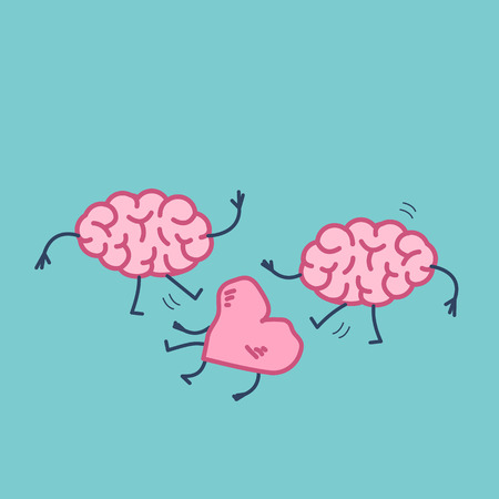 Two brains attacking heart on the ground. Vector concept illustration of sensitivity and feeling under attack of dominant mind | flat design linear infographic icon on blue background