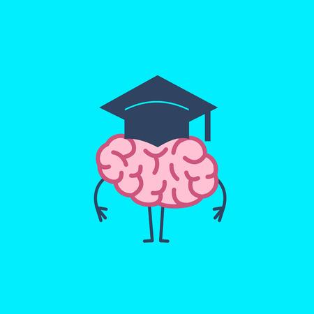 学術キャップの脳。ベクトル スマート脳と偉大な心の概念イラスト |青の背景にフラットなデザイン線形インフォ グラフィック アイコン