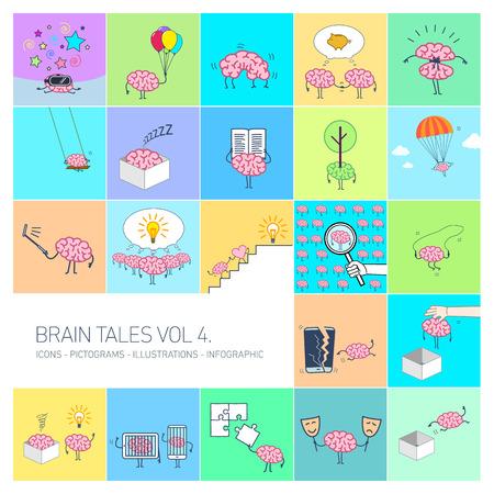 Cervello tales volume 4, illustrazioni di concetto di vettore serie di cervello e formazione in diverse situazioni divertenti | Icone lineari di design piatto multicolor set e infografica su sfondo colorato