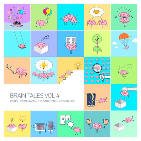 Brain tales volume 4, Vector concept illustrations set of brain and education in different funny situations | multicolor flat design linear icons set and infographic on colorful background