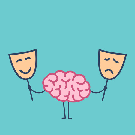 Brain with happy and sad mask. Vector concept illustration of brain deciding which mask to choose | flat design linear infographic icon on green background