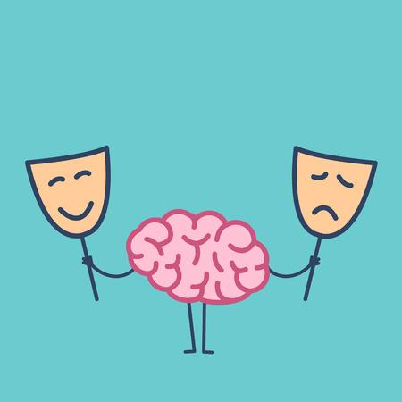 幸せ、悲しいマスクと脳。ベクトルを選択するどのマスクを決定する脳の概念イラスト |フラット デザイン線形インフォ グラフィック アイコンを緑  イラスト・ベクター素材