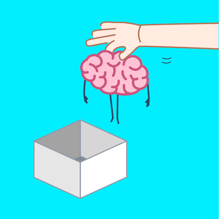 Hand putting brain out of the box. Vector concept illustration of unconventional thinking out of the box | flat design linear infographic icon on blue background 向量圖像