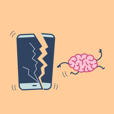 Happy brain without technology. Vector concept illustration of freed brain escaping out of the broken smartphone | flat design linear infographic icon on orange background