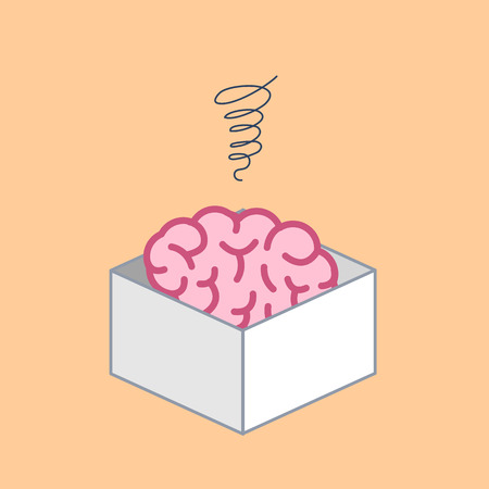 Atrophied brain in the box. Vector concept illustration of mind which stopped developed | flat design linear infographic icon on blue background
