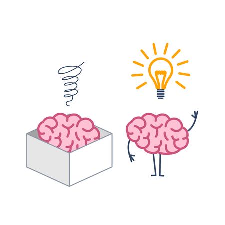 상자 밖에서 두뇌를 생각하는 것. 새로운 아이디어와 상자의 두뇌와 상자의 벡터 개념 일러스트 레이션   평면 디자인 선형 infographic 아이콘 흰색 배경 일러스트