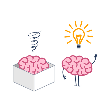 Brain thinking out of the box. Vector concept illustration of brain in the box and out of the box with new idea | flat design linear infographic icon colorful on white background 向量圖像