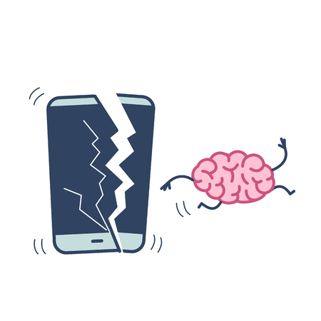 Happy brain without technology. Vector concept illustration of freed brain escaping out of the broken smartphone | flat design linear infographic icon colorful on white background Ilustrace