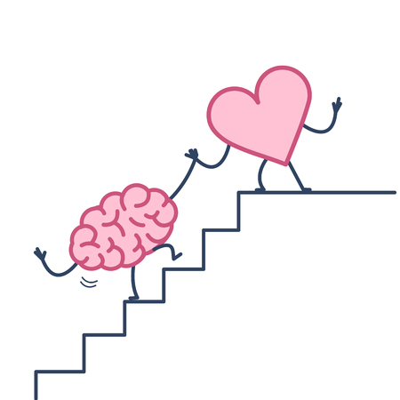 heart helping hand brain to success. Vector concept illustration of heart cooperation with brain on stairs to goal | flat design linear infographic icon colorful on white background Illustration