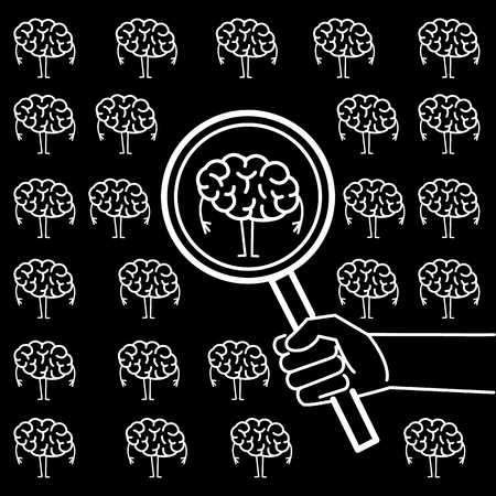 Searching brain or headhunter. Vector concept illustration of hand with magnifying glass searching brain | flat design linear infographic icon white on black background