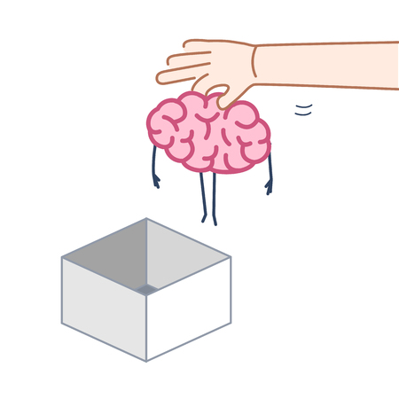 Hand putting brain out of the box. Vector concept illustration of unconventional thinking out of the box | flat design linear infographic icon colorful on white background Illustration