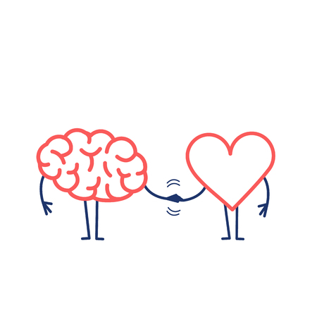 Brain and heart handshake. Vector concept illustration of teamwork between mind and feelings | flat design linear infographic icon red and blue on white background