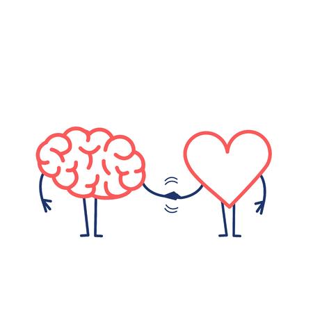 Uścisk dłoni mózgu i serca. Ilustracja wektorowa koncepcji pracy zespołowej między umysłem a uczuciami | płaska konstrukcja liniowa infografika ikona czerwony i niebieski na białym tle