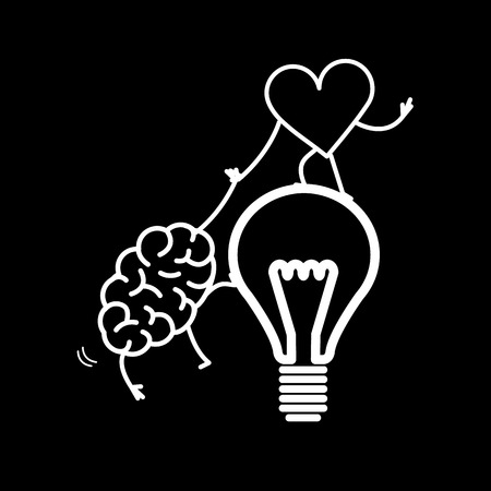 Brain and heart cooperation and teamwork. Vector concept illustration of mind and feelings, heart helps to climb brain on idea bulb | flat design linear infographic icon white on black background
