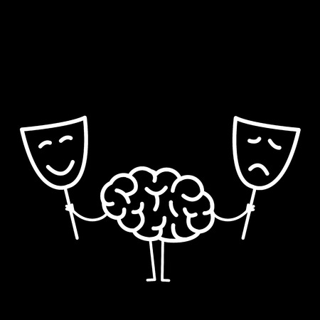 Brain with happy and sad mask. Vector concept illustration of brain deciding which mask to choose | flat design linear infographic icon white on black background  イラスト・ベクター素材