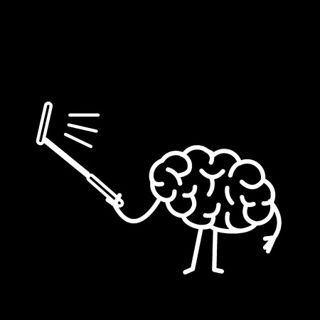 Brain taking selfie with selfie stick| flat design linear infographic icon white on black background Ilustração