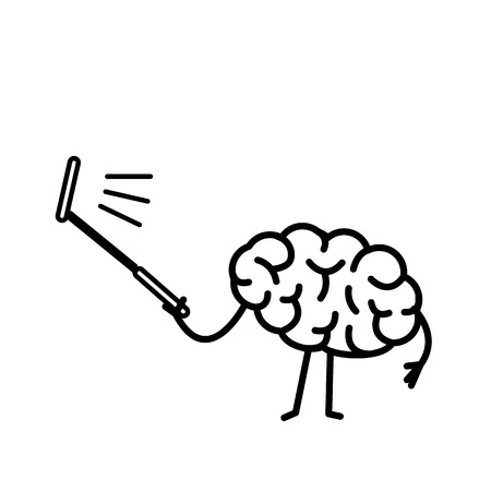 Brain taking selfie with selfie stick| flat design linear infographic icon black on white background Illustration