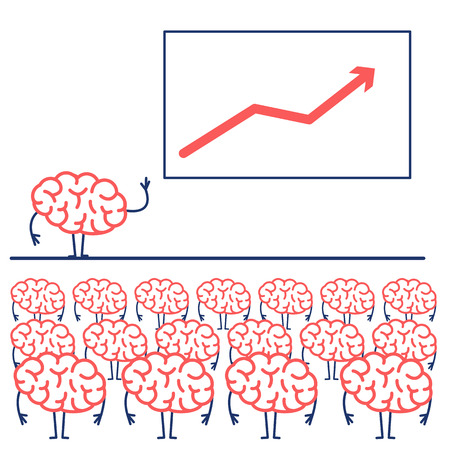 Brain giving a speech on stage. Vector concept illustration of audience, seminar, conference theme  | flat design linear infographic icon red and blue on white background