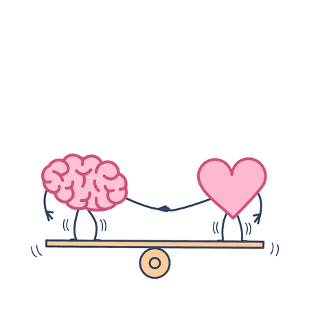 Brain and heart balancing on swing. Vector concept illustration of balance between mind and feelings| flat design linear infographic icon colorful on white background Иллюстрация