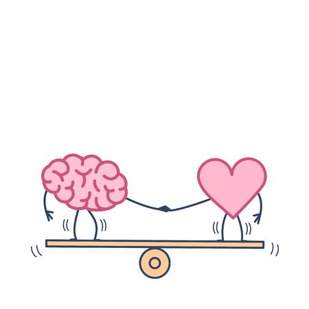 Mózg i serce balansują na huśtawce. Ilustracja wektorowa koncepcji równowagi między umysłem a uczuciami | płaska konstrukcja liniowa infografika ikona kolorowy na białym tle Ilustracje wektorowe