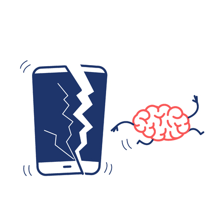Happy brain without technology. Vector concept illustration of freed brain escaping out of the broken smartphone | flat design linear infographic icon red and blue on white background Ilustrace