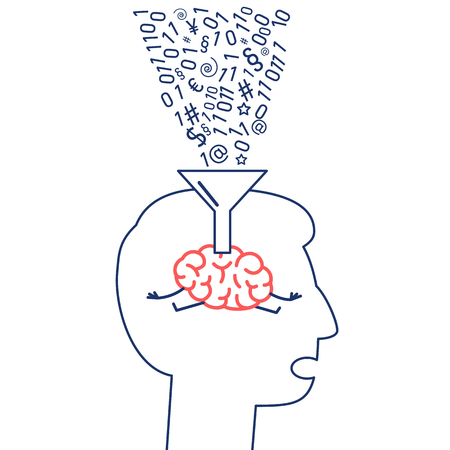 Brain in human head informations filling with funnel. Vector concept illustration of education and information absorbing | flat design linear infographic icon red and blue on white background 일러스트
